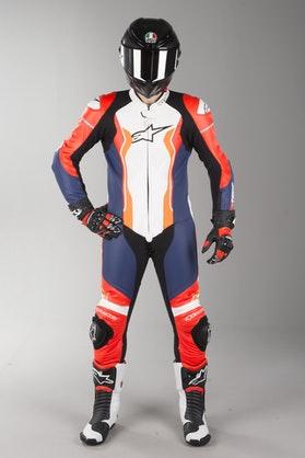 Alpinestars GP Pro V2 Tech-Air Leather Suit Black-White-Orange-Red Fluo