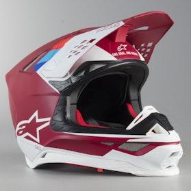 Kask Cross Alpinestars Supertech M8 Solid ECE Czerwono-Czarny