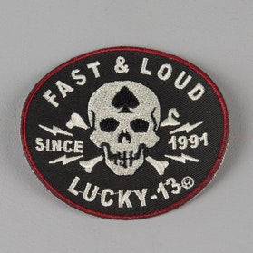 Lucky 13 Fast & Loud 3 Inch Embroidered Patch Black