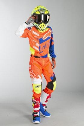 Alpinestars Racer Screamer Kids MX Clothes Orange-Blue-White-Yellow