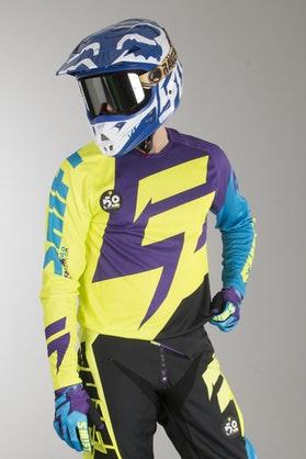 Bluza Cross Shift Faction Fioletowo-Żółta MX 15