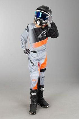 Alpinestars Racer Supermatic Children's MX Clothing Kit Grey-Orange Fluo