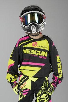 Motokrosová Mikina Dětský Model Freegun Nerve Neonová Žlutá-Růžová