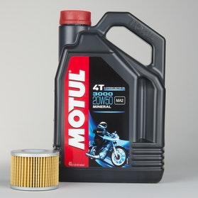 Olej mineralny 4L+filter oleju Motul 4T 3000