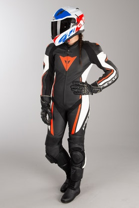 Dainese Assen Perf. Women's Leathers Black-White-Red
