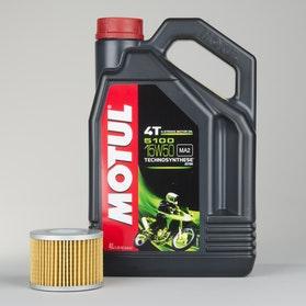 Olej półsyntetyczny 4T Motul 5100 4L + Filtr oleju Snell