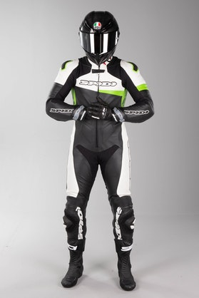 Kožená Kombinéza Spidi Race Warrior Perforovaná Černo-Zelená