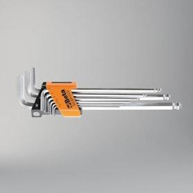 Komplet 9 kluczy trzpieniowych kątowych z końcówką kulistą, długich Beta Tools