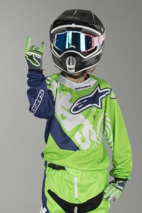 Bluza Cross Alpinestars Racer Venom Dziecięca ZielonoFluo-Biało-Niebieska