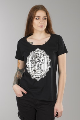 T-Shirt Lucky 13 Cameo Ladies Scoop-Neck Damski Czarny