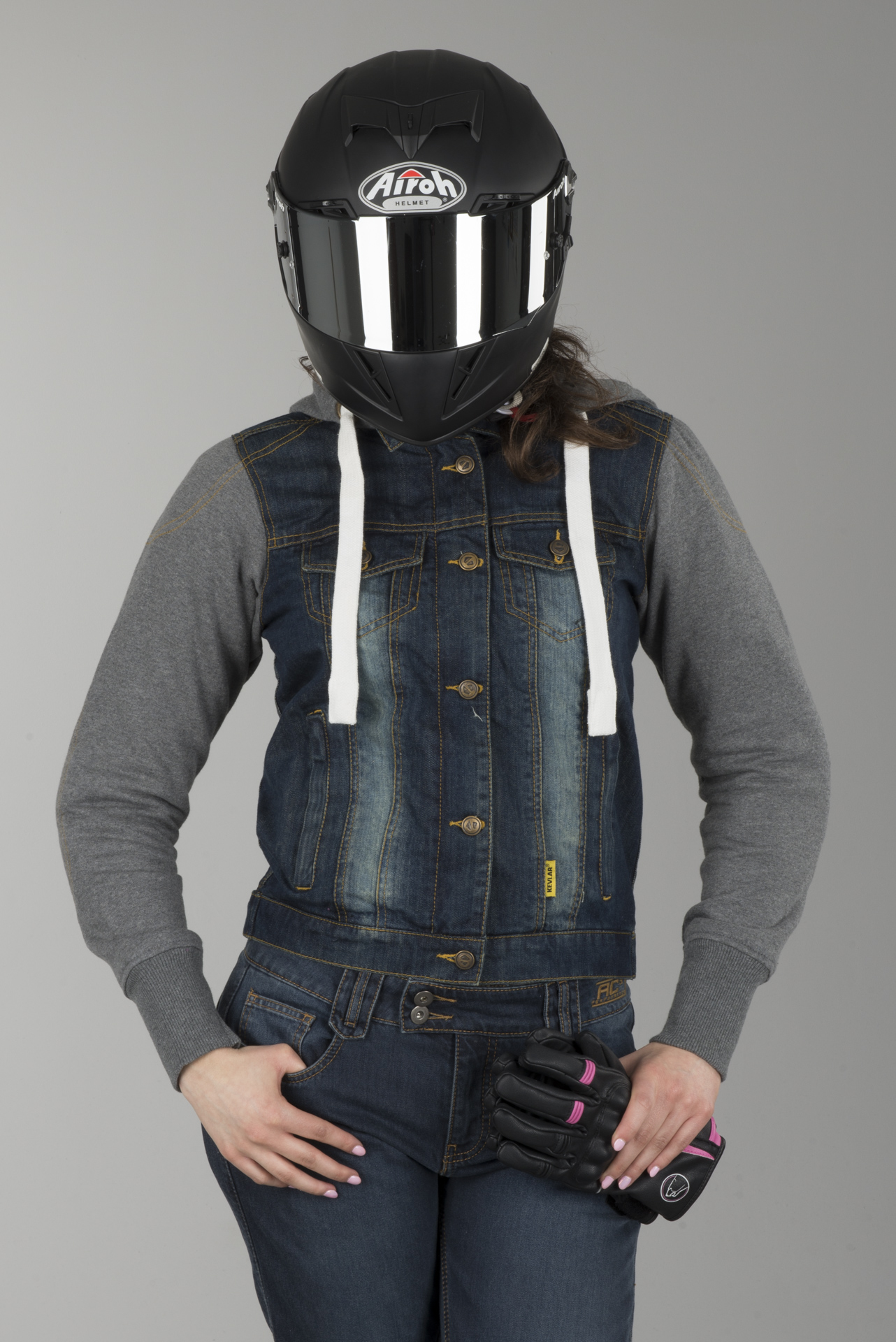 Booster Denim Damen Motorrad Hoodie S Blau//Grau