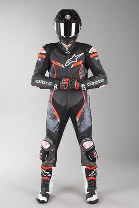 Alpinestars GP Pro V2 Tech-Air Leather Suit Black-Camo-Red Fluo