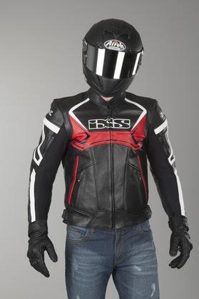 IXS Hype Black-Red-White Leather Jacket