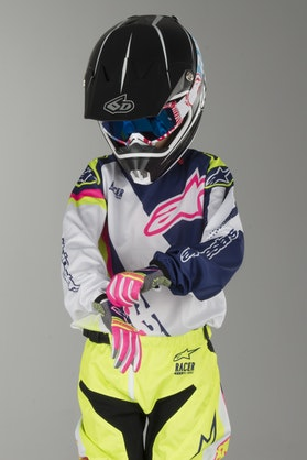 Alpinestars Youth Racer Supermatic Jersey White-Blue-Fluorescent Yellow