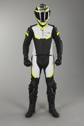 Kombinezon skórzany 2 części Macna Exone Czarny-Biały-Żółty