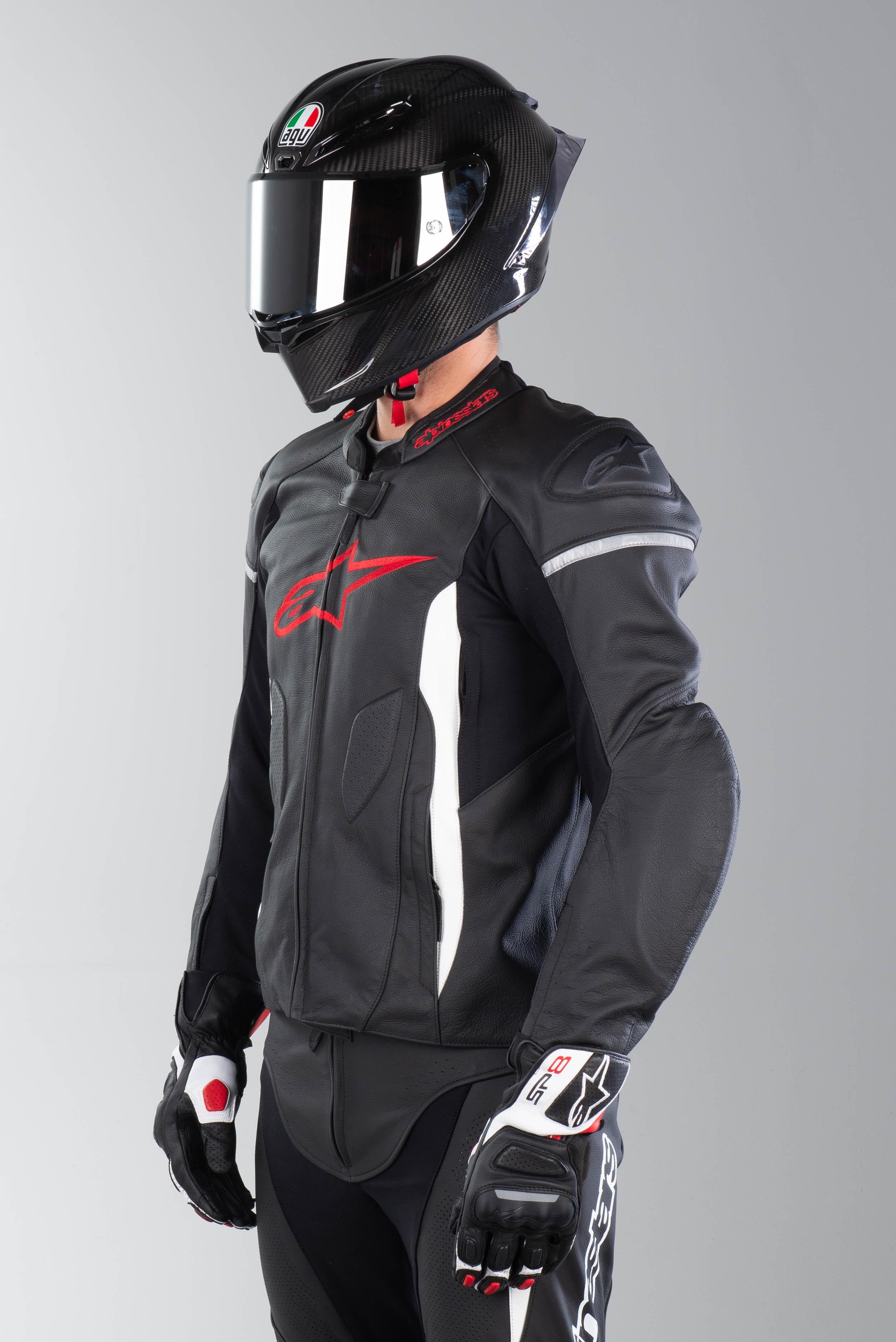 50 Alpinestars Faster nero//bianco//rosso Giacca in pelle