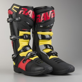 Raven Combat MX Boots Black-Red-Yellow