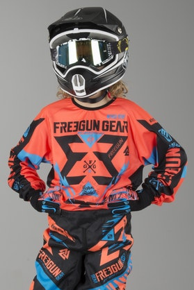 Freegun Trooper Youth MX Jersey Cyan & Orange