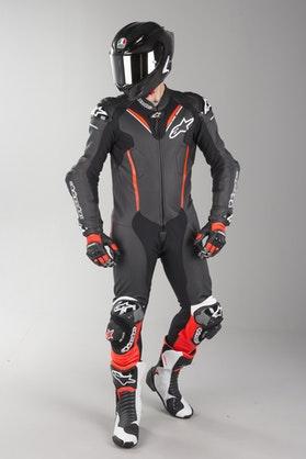 Alpinestars Atem V3 Leather Suit Black-White-Red Fluo