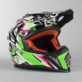 Kask Cross LS2 MX437 Fast Strong Biało-Zielono-Różowy