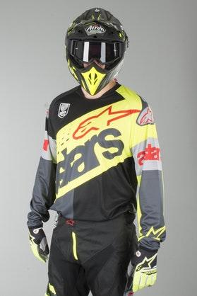 Bluza Cross Alpinestars Racer Flagship Fluorescencyjno Żółto-Czarno-Antracytowa