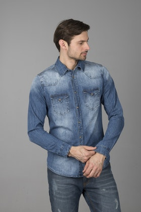 Brandit Denimshirt Riley - Denim Blue