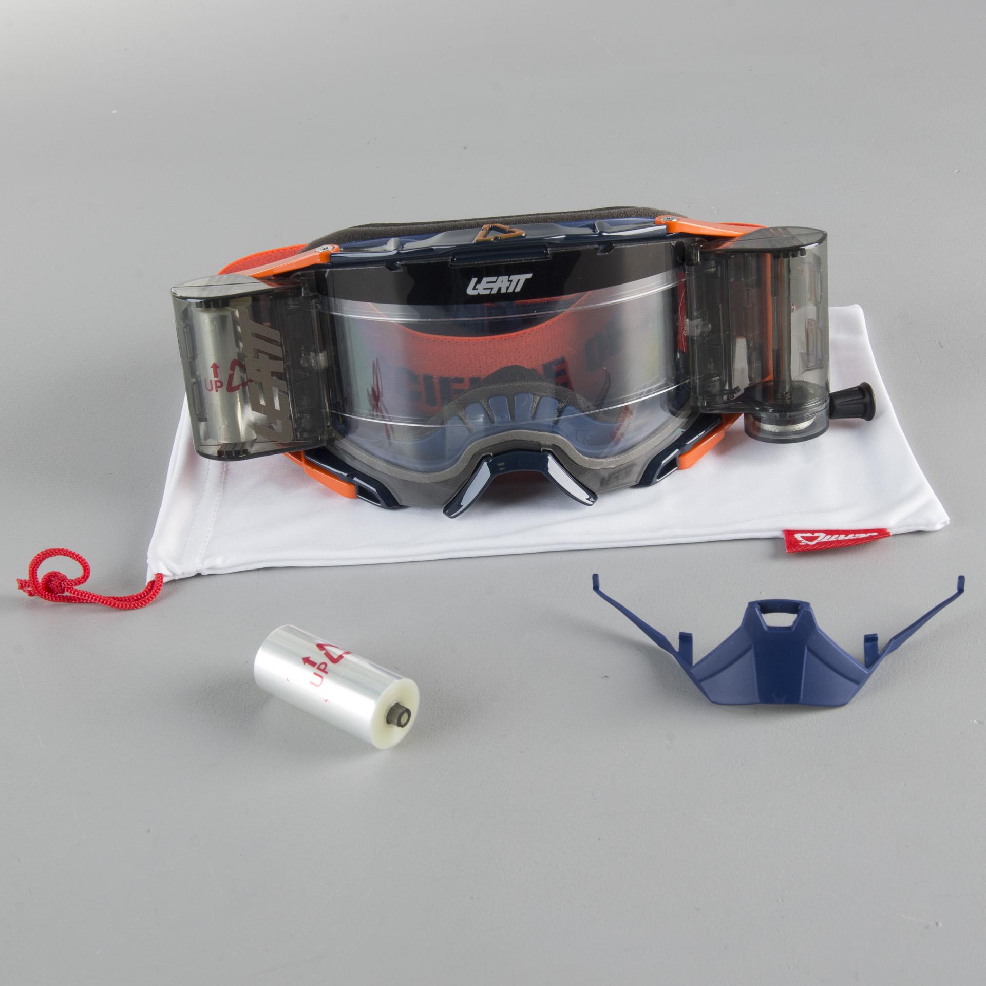 LEATT VELOCITY 6.5 ROLL-OFF MOTOCROSS MX GOGGLES WHITE CLEAR LENS RED