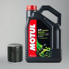 Olej Pólsyntetyczny Motul 10W40 4L 4T 5000 Olej Silnikowy + Filtr Oleju Snell
