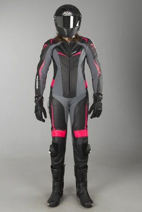 Spidi Ladies Track Wind Pro Leathers Black-Fuchsia