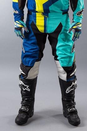 Spodnie Alpinestars Techstar Factory niebiesko-turkusowo-limetkowe