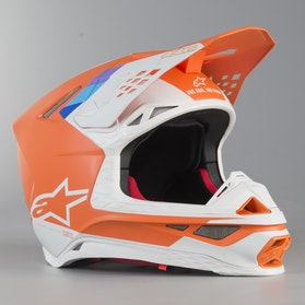 Kask Cross Alpinestars Supertech M8 Contact ECE Pomarańczowo-Biały
