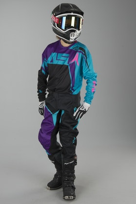 Alias A2 Burst Children's MX Jersey Black-Aqua