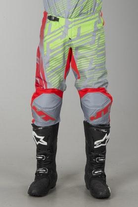 Crossové Kalhoty JT Racing Prime Červená-Žlutá-Šedá