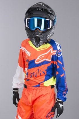 Alpinestars Racer Screamer Youth MX-Jersey - Orange-Flourescent Blue-White-Yellow