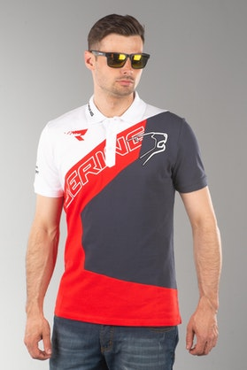 Bering Racing Homme Polo Shirt White-Red-Black