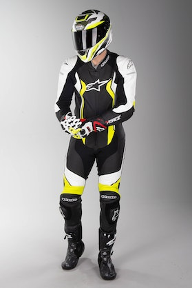 Alpinestars GP Force Leather Suit Black-White-Yellow Fluo