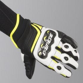 Rękawice Dainese Carbon D1 Krótkie Czarno-Biało-Żółte