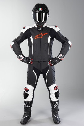 Alpinestars Missile Leather Tech-Air Leather Suit Black-White-Red Fluo 2 Part