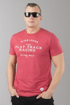 T-Shirt Ride&Sons Flat Track Heather Czerwony