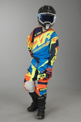 Motokrosové oblečení Dětské FXR Clutch Prime Modro-Neonově Oranžové