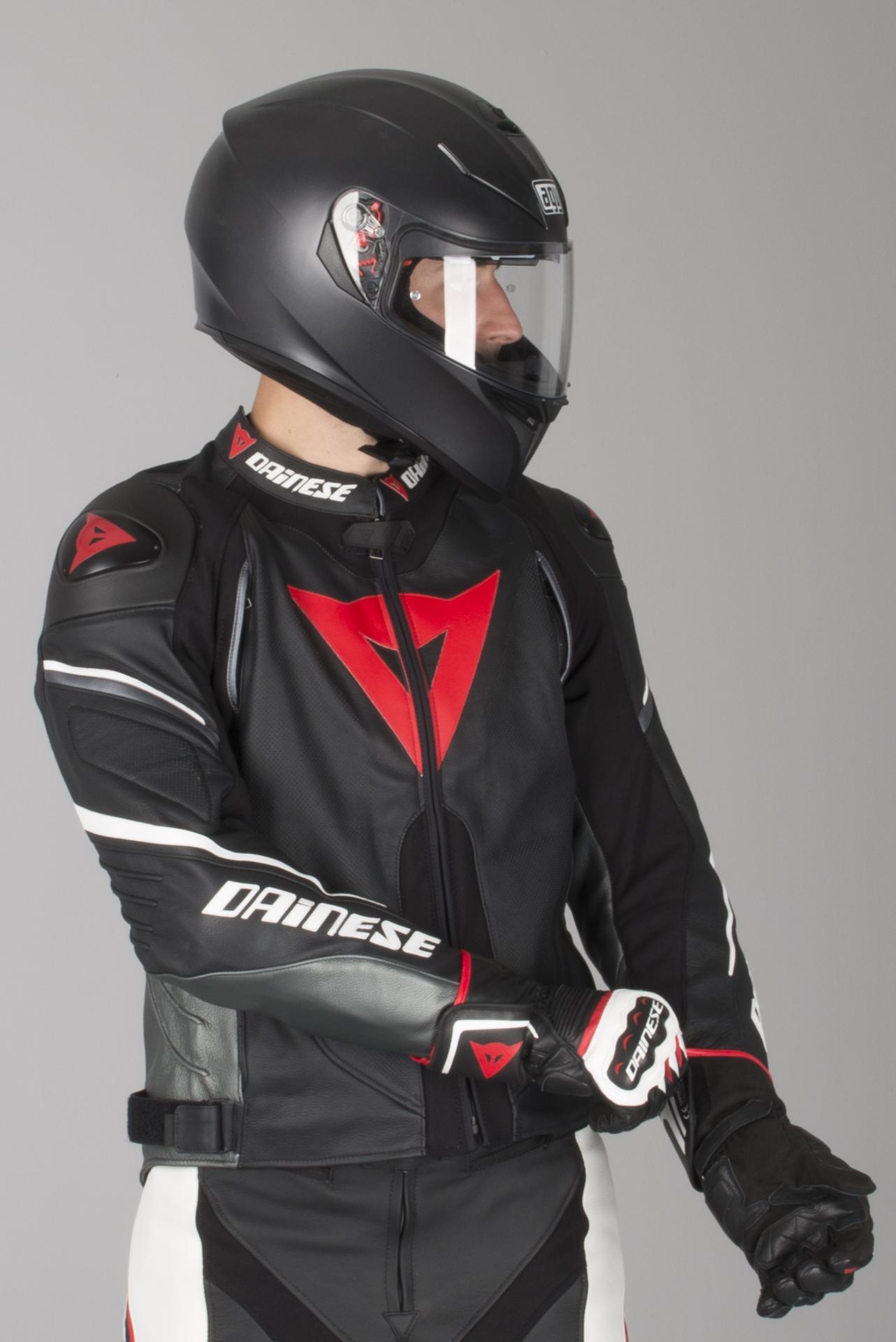 Lederjacke Dainese Super Speed D1 Weiß Schwarz Rot