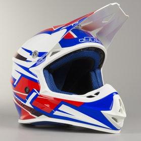 Kask Cross JT Racing Prime Czerwono-Biało-Niebieski