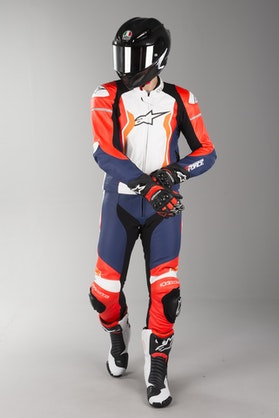 Alpinestars GP Force Leather Suit Red Fluo-Black-White-Orange Fluo 2 Parts