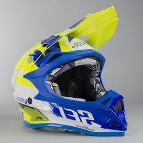 Kask Cross Just1 J32 Pro Kick Biało-Niebiesko-Żółty