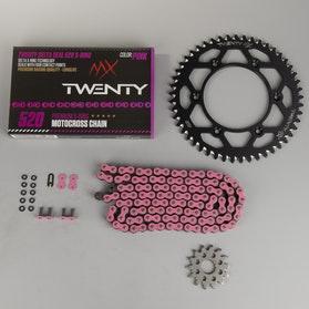 MX Twenty Delta 520 X-Ring Chain & Sprocket Kit Pink