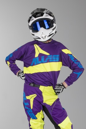 Alias A2 Bars Youth Motocross Jersey Neon Yellow-Purple