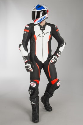 Alpinestars Missile Tech Air Compatible Leather Suit - Black-White-Flourescent Red