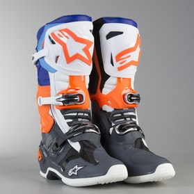 Alpinestars Tech 10 MX Boots Grey-Orange-Blue-White