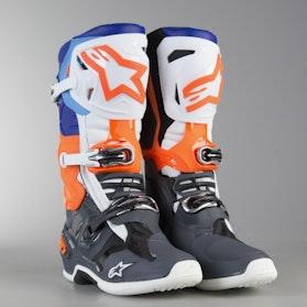 Crossové Boty Alpinestars Tech 10 Šedo-Oranžovo-Modro-Bílé