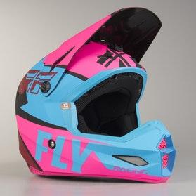 FLY Elite Guild MX Helmet Pink-Blue-Black